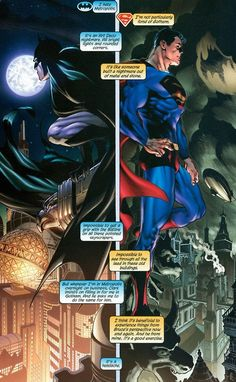An example of one of many differances between the man of steel and the dark knigt. Yet two sides to the same coin.