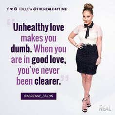 Good love brings out the good in you. The Real Talk Show, Adrienne Bailon, Real Quotes, Dumb And Dumber, Bring It On, Good Things, My Love, Memes, Instagram Posts