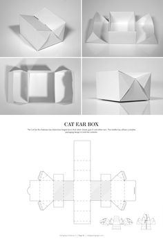 DIELINES II: The Designer's Book of Packaging Dielines Cat Ear Box – FREE resource for structural packaging design dielinesCat Ear Box – FREE resource for structural packaging design dielines Packaging Dielines, Tea Packaging, Food Packaging Design, Packaging Design Inspiration, Packaging Nets, Gift Wrapping Techniques, Paper Box Template, Cardboard Packaging, Packaging Solutions