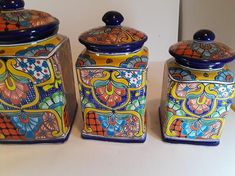 Beautifully Handcrafted and painted Mexican Talavera  Perfect for your Mexican or southwest kitchen or even Mediterranean style.   Please allow a few days to wrap and package delicate items   The canister in the Photo is the one you will receive!  Largest: 6 x 13 Medium: 7 x 11 Smaller: 6 1/2 x 10