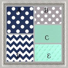Crib Bedding Set Navy Gray Mint Green by butterbeansboutique, $335.00