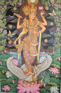 "Saraswati, Hindu goddess of knowledge and the arts. There are good reasons one of the characters in my yoga novel ""Ashram"" is given her name. Saraswati Goddess, Goddess Art, Indian Gods, Indian Art, Shiva, Krishna, Bali Painting, Religion, Divine Mother"