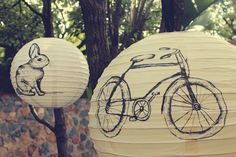 Hand illustrated paper lanterns by Autumn Breeze Hand Illustration, Paper Lanterns, Marry Me, Beautiful World, Wedding Designs, Breeze, Autumn, Pretty, Bicycle