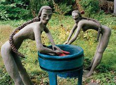Photo: Sculptures at Finnish self-taught artist Veijö Rönkkönen's fantasy garden in Koitsanlahti, Parikkala, featured in Raw Vision 78. http://rawvision.com/articles/joys-and-tribulations-immortalised-concrete