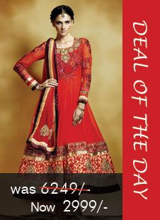 Deal of the day - Red Faux georgette Anarkali suit! Was Rs. 6249, Now only Rs. 2799! Grab your piece before the deal closes on 23rd July 2014 at 11am ISt