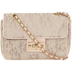 Cream lace shoulder bag ($39) ❤ liked on Polyvore