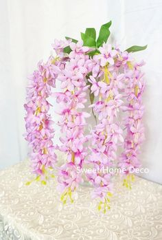 Sweet Home 22'' Hanging Wisteria Silk Artificial Flower Bush (5 Stems) for Wedding/home/party Decorations (Light Purple/Pink) * Check out this great product.