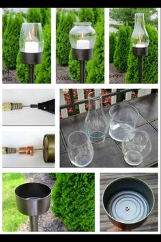 Recycle turn can & glass into candle holders & garden luminaries  Made these and they look fabulous :)