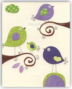 Nursery wall art Baby girl Room Decor birdsViolet by DesignByMaya, $17.00