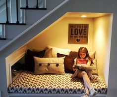 Constructing a reading nook doesn't have to be hard. Give these 4 DIY reading nook projects a try! Constructing a reading nook doesn't have to be hard. Give these 4 DIY reading nook projects a try! Basement Remodeling, Basement Ideas, Remodeling Ideas, Basement Flooring, Walkout Basement, Basement Walls, Small Basement Remodel, Modern Basement, Basement Windows