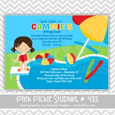 Pool Party 6 Girl Personalized Party Invitation-personalized invitation, photo card, photo invitation, digital, party invitation, birthday, shower, announcement, printable, print, diy,icecream, polka dots