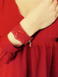 DESERT FLOWER handmade  lace bracelet Cuff  by alsoljewels on Etsy