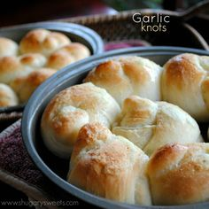 Garlic Knots: delicious, easy, rolls made from Rhode's frozen rolls.