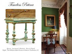 Timeless Patina in Charleston SC and on the box-on-stand in the Sanctuary Collection by Hooker Furniture.