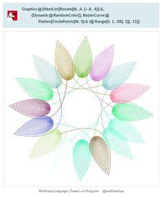 Graphics@{NestList[Rotate[#,.4,{-.8,.4}]&,{Dynamic@RandomColor[],BezierCurve@Flatten[CirclePoints[#,3]&/@Range[0,1,.08],1]},15]}