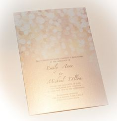 Gold and Blush Bokeh Wedding Invitation  printed on by encrestudio, $5.00