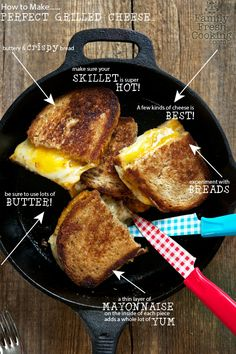 Cast Iron Skillet Grilled Cheese Sandwiches - the BEST Grilled Cheese! Cast Iron Skillet Cooking, Iron Skillet Recipes, Cast Iron Recipes, Skillet Meals, Grill Skillet, Skillet Food, Dutch Oven Cooking, Dutch Oven Recipes, Cooking Recipes