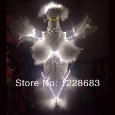 Rhinestones Crystals Feather White Swan Lake Ballet Led Poi Dress Led Lighting Costume
