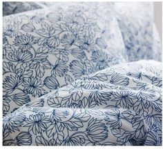 BRAND NEW, in original IKEA packaging, BLADVASS duvet cover and pillowcases set from IKEA of Sweden. Designed by Michiko Nakata. Blue flower and leaf