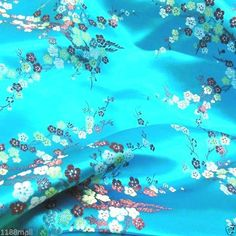 """BR 403 Blossoms on Turquoise Blue Faux Silk Chinese  Brocade Fabric by Yard 45""""W"""
