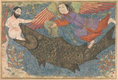 "Islamic Art - ""Jonah and the Whale"", Folio from a Jami al-Tavarikh (Compendium of Chronicles) ca. 1400 by Illustrated manuscript Medieval Art, Islamic Art, Illustration, Miniature Art, Metropolitan Museum Of Art, Illustrated Manuscript, Biblical Art, Art, Jonah And The Whale"