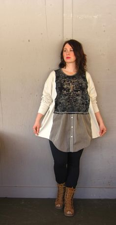 Romantic Lagenlook New York top upcycled clothing Funky Patchwork Tunic up cycled Bohemian T shirt Tattered artsy dress  plus size