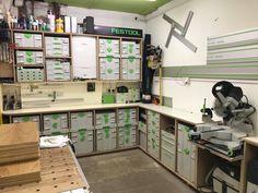 Festool Systainer, Festool Tools, Workshop Layout, Workshop Storage, Tool Storage, Workshop Ideas, Woodworking Workshop, Woodworking Shop, Mitre Saw Station