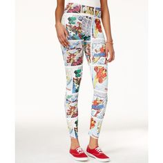 Marvel Juniors' The Avengers Comic Strip Leggings ($9.99) ❤ liked on Polyvore featuring pants, leggings, white, graphic leggings, graphic print leggings, white trousers, comic book and white pants