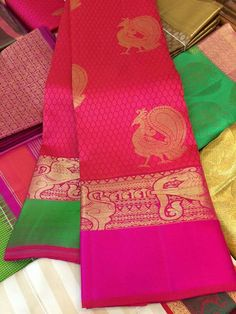 Peacocks and yali - one of a kind From Prakash silks,kanchipuram Indian Bridal Sarees, Wedding Silk Saree, Indian Silk Sarees, Soft Silk Sarees, Cotton Saree, Prakash Silks Kanchipuram, Silk Saree Kanchipuram, Kalamkari Saree, Designer Silk Sarees