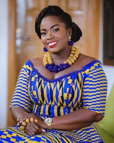 """The very beautiful and sweet Ghanaian bride Dr Mrs Dompreh-Ofori. African American Fashion, African Fashion Ankara, Latest African Fashion Dresses, Ghanaian Fashion, African Print Fashion, Africa Fashion, African Prints, African Attire, African Wear"