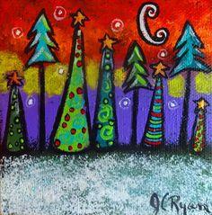A Silent Winter's Night Canvas Christmas Ornament by JuliCadyRyan, $35.00