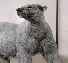 Galvanised Wire Sculptures by Kendra Haste Animal Sculptures, Wire Sculptures, Sculpture Art, Wire Art, Polar Bear, Artwork, Wire Jewelry, Heavy Metal, Statues