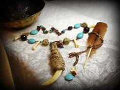Shapeshifter Wild Handmade Necklace Neck Art. Wild Boar Tusk, Coyote Foot Bone, Bloodstone Jasper, Turquoise, Aquamarine, Snake Bone, Garnet