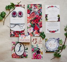 We love this floral wedding stationery suite. Flowers aren't just for the table