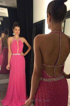 Backless Prom Dresses, Sheath Prom Dress, Scoop Neck Evening Dresses, Chiffon Party Dresses, Pink Formal Dresses