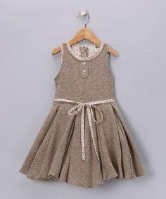 Tan Tweed Hepburn Dress - Girls by La faute A Voltaire So sweet.