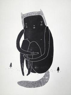 BIG AND LONELY. Et silke print af kunstner My Buemann. Værket kommer ikke indrammet.