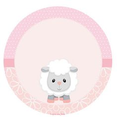 Baby Lamb in Pink: Toppers or Free Printable Candy Bar Labels. Eid Stickers, Baby Stickers, Baby Sheep, Cute Sheep, Eid Envelopes, Candy Bar Labels, Eid Cards, Baby Lamb, Party Decoration