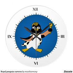 Royal penguin cartoon clock