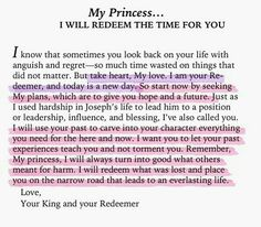 Redeeming the time . Bible Quotes, Bible Verses, Bible Art, Faith Quotes, Redeeming The Time, Gods Princess, Princess Quotes, Warrior Princess, Journaling