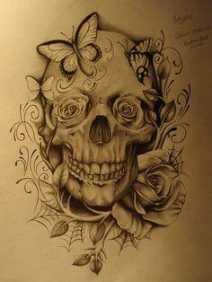 Skull and Roses - 1 by ~sammydodger1 on deviantART