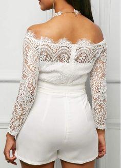 Lace Panel Off the Shoulder White Romper Cute Wedding Outfits, Simple Wedding Gowns, Casual Dresses Plus Size, Simple Dresses, Mob Dresses, Fashion Dresses, White Cocktails, Designer Jumpsuits, Club Party Dresses