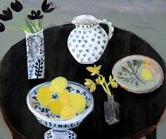 x x x ~ 'Elaine Pamphilon    Dark Tulips, Dark Table and Lemon Bowl    2011'