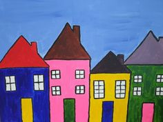 """Saatchi Art is pleased to offer the painting, """"""""Houses"""","""" by Andreea Matusoiu, available for purchase at $355 USD. Original Painting: Soft (Yarn, Cotton, Fabric), Canvas, Paper, Ceramic, Cardboard on Acrylic, Oil, Tempera, Watercolor, Household. Size is 16 H x 20 W x 0.1 in."""