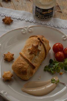 Hojaldres de solomillo de cerdo con salsas de queso Cabrales
