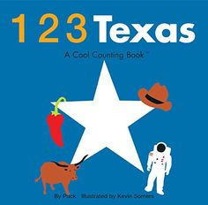 """123 Texas (Cool Counting Books)  Features contemporary illustrations, dazzling colors & bold, clear design.  Kids will count from one to 10 with some of Texas's most beloved symbols.  A complete bilingual location list, in both English and Spanish is included.  Board book measures 6"""" x 6"""" and contains 22 pages.  Recommended for ages 0 - 3 years."""
