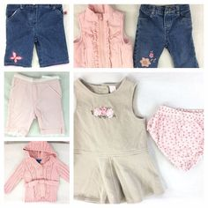 Lot of 6 Baby Girls Jeans Pink Sweater Pants Vest Size 12 Months Sesame Street #BabyHeadquarters #Everyday #babyclothes