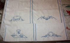 Retro Embroidered Kitchen-themed Linen Tea Towels by FelicesFinds