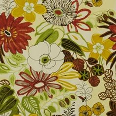 Lilith Summer by Robert Allen Drapery Fabric      This beautiful off-white, red, green & white floral fabric by Robert Allen is ideal for pillows, bedding, upholstery, or drapery.  Fabric suitable for many home decorating applications.  Compare to $36.95  Width: 55 in. Horizontal Repeat: 27.0 Vertical Repeat: 27.0. Content: 100% Cotton. Pure solvents dry cleaning.