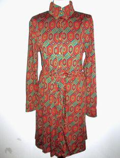 * * * HOPE 1967 Retro-Jerseykleid orange/grün/blau, Gr.L * * *